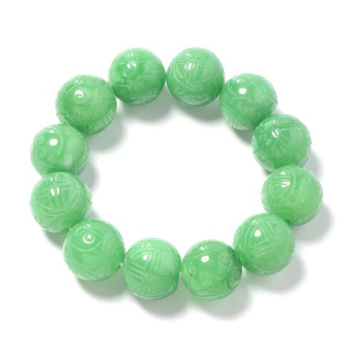 Extremely Rare Carved Green Jade (Rnd 16mm-18mm) Beads Stretchable Bracelet (Size 6.5 to 9) 517.500