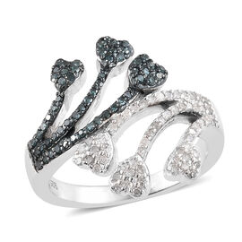 Blue and White Diamond (Rnd) Heart Bypass Ring in Platinum Overlay with Blue Plating Sterling Silver