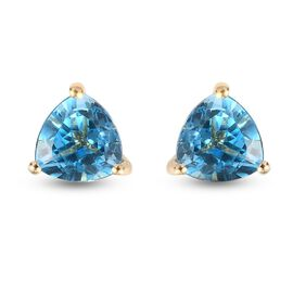 Blue Topaz Solitaire Stud Push Post Earring in 14K Gold Overlay Sterling Silver 1.49 ct  1.494  Ct.
