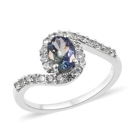 1 Carat Peacock Tanzanite and Zircon Halo Ring in Platinum Plated Silver