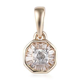9K Yellow Gold SGL Certified Diamond (I3/G-H) Pendant 0.25 Ct.