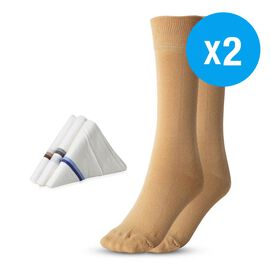Set of 3 - 2 Pairs of N9 Pure Silver Anti-Bacterial Silver Socks (Size- 7-12 UK) and 100% Cotton Han