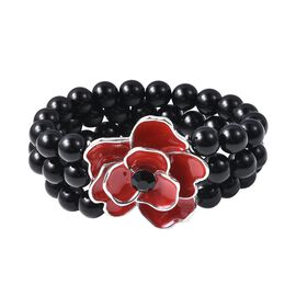 Red and Black Enamelled Poppy Flower and Simulated Black Spinel Beads Strechable Bracelet 6.5 Inch