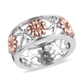 Platinum and Rose Gold Overlay Sterling Silver Dragonfly and Floral Band Ring