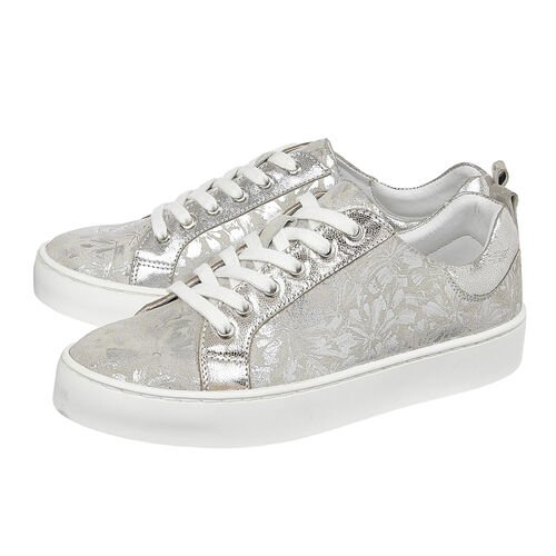 Lotus Silver Floral Leather Garda Lace-Up Trainers (Size 4)