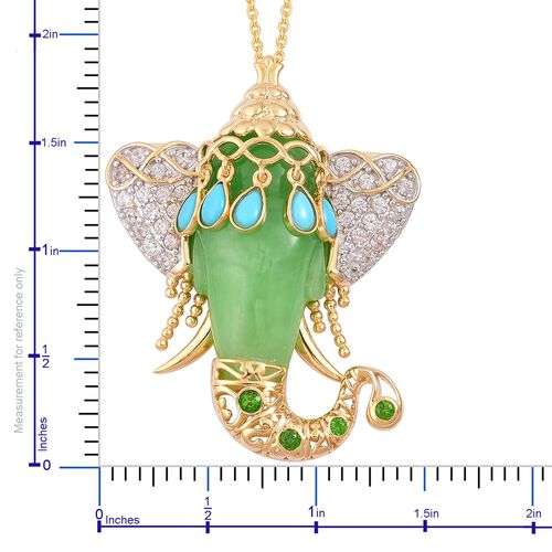 Green Jade, Arizona Sleeping Beauty Turquoise, Russian Diopside and Natural White Cambodian Zircon Elephant Head Pendant With Chain (Size 30) in Yellow Gold Overlay Sterling Silver 43.100 Ct.