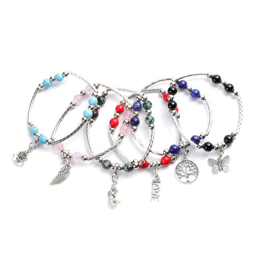 Set of 6 - Multi Gemstone Stretchable Bracelet (Size 7) with Charms in Antique Silver Plating