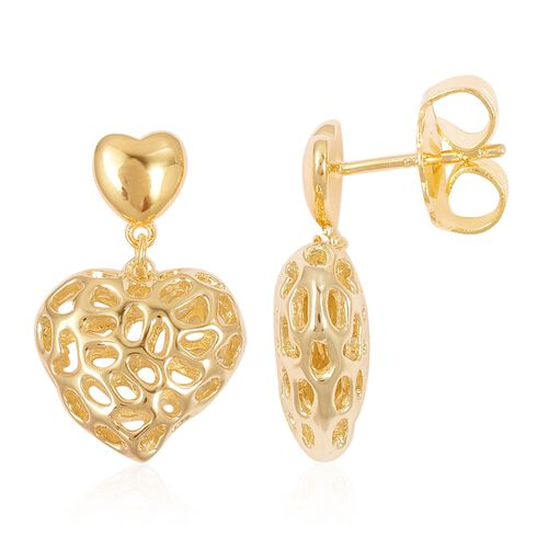RACHEL GALLEY Yellow Gold Overlay Sterling Silver Amore Heart Lattice Earrings (with Push Back), Silver wt 6.80 Gms.