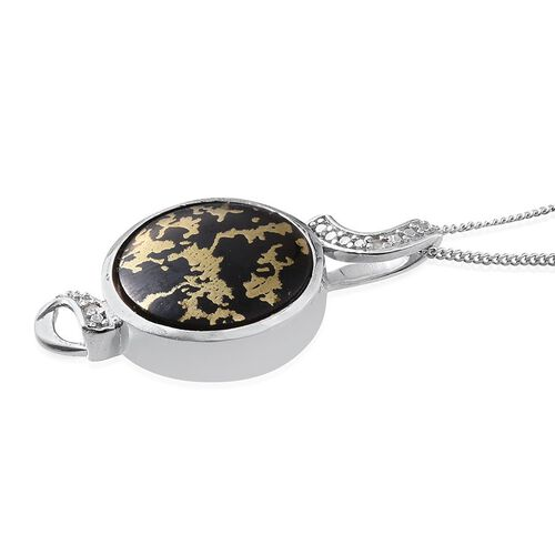 Goldenite (Rnd 6.25 Ct), Diamond Pendant With Chain in Platinum Overlay Sterling Silver 6.270 Ct.