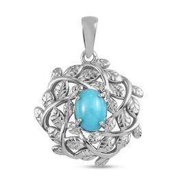 Arizona Sleeping Beauty Turquoise Leaf Vine Pendant in Platinum Overlay Sterling Silver 1.050 Ct.