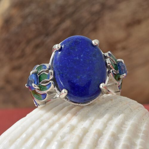 Gp Lapis Lazuli (Ovl 9.25 Ct.),Himalayan Kyanite, Kanchanaburi Blue Sapphire Ring in Platinum with Enameled Overlay Sterling Silver 10.000 Ct, Silver wt 6.26 Gms.