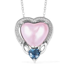 Mabe Pearl - Pink (4.50 Ct),London Blue Topaz,White Zircon Sterling Silver Pendant With Chain  5.640