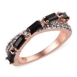 Thai Black Spinel (1.00 Ct),Cambodian Zircon Sterling Silver Ring  1.000  Ct.