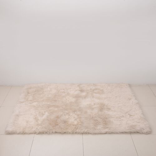 Luxury Edition - Shaggy Pile Super Deep Faux Sheep Skin Area Rug (Size 180x120 Cm) Ivory