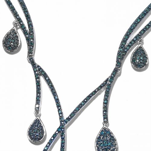 Desinger Inspired- Blue Diamond (Rnd) Necklace (Size 18 with 2 inch Extender ) in Platinum Overlay Sterling Silver 1.150 Ct. Silver wt 14.62 Gms. Number of Diamonds 201