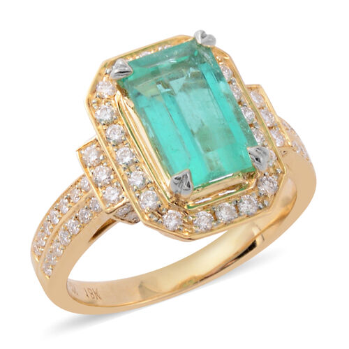 ILIANA 18K Yellow Gold AAAA Boyaca Colombian Emerald, Diamond (SI-G-H) Ring, 3.10 Ct, Gold wt 5.06 G