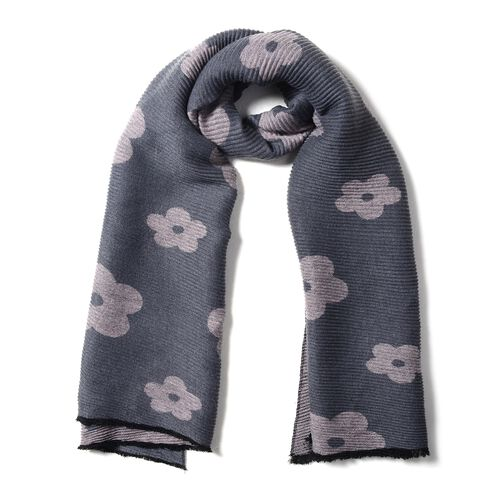 Designer Inspired-Grey and Pink Colour Plum Blossom Flower Pattern Scarf (Size 200x65 Cm)