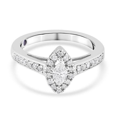 14K White Gold Diamond (I2-I3/G-H) Ring 0.50 Ct.