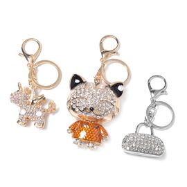 3 Piece Set - Austrian Multicolour Crystal (Rnd) Enameled Unicorn, Cat and Bag Key Chain in Silver a