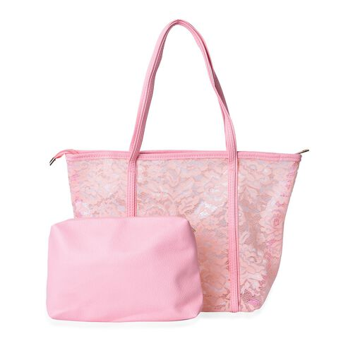 Limited Edition - Set of 2 - Light Pink Lace Pattern Handbag (Size 44X30X13.5 Cm) and Pouch (Size 25X19X7 Cm)