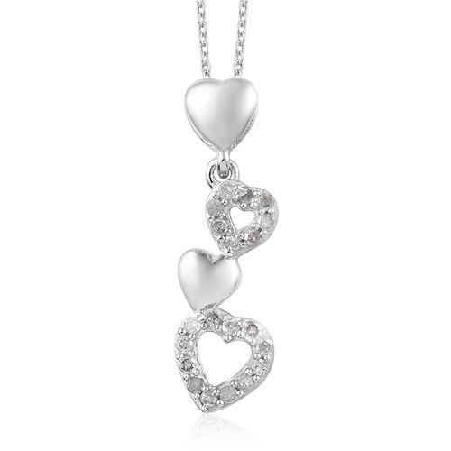 GP Diamond (Rnd), Kanchanaburi Blue Sapphire Heart Pendant With Chain (Size 20) in Platinum Overlay