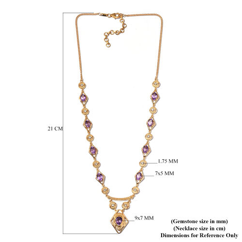 Moroccan Amethyst and Natural Cambodian Zircon Necklace (Size 18 with 2 inch Extemder) in 14K Yellow Gold Overlay Sterling Silver 7.60 Ct, Silver wt. 15.65 Gms