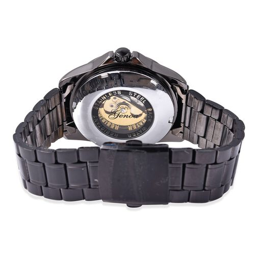 GENOA Automatic Skeleton Water Resistant Black Plated Watch with Stainless Steel Strap