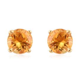 Citrine Stud Earrings in 14K Gold Overlay Sterling Silver 0.77 Ct.