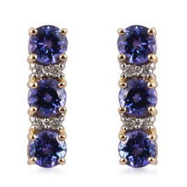 9K Yellow Gold 2.50 Carat AA Tanzanite with Diamond (I3/G-H) Earrings (with Push Back)