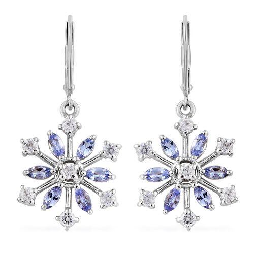 Tanzanite (Mrq), Natural Cambodian Zircon Snowflake Lever Back Earrings in Platinum Overlay Silver 2.25 Ct.