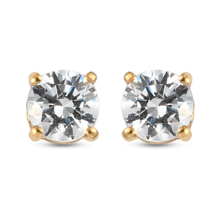 J Francis 14K Gold Overlay Sterling Silver Stud Earrings (with Push Back) Made with SWAROVSKI ZIRCON