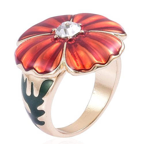 White Austrian Crystal Red and Green Colour Enameled Ring in Gold Tone