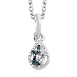 Blue and White Diamond (Bgt) Pendant with Chain (Size 20) in Platinum Overlay Sterling Silver 0.03 C