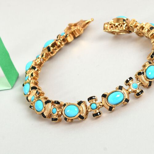 Arizona Sleeping Beauty Turquoise Enamelled Bracelet (Size 7) in 14K Gold Overlay Sterling Silver 6.50 Ct, Silver wt 21.50 Gms