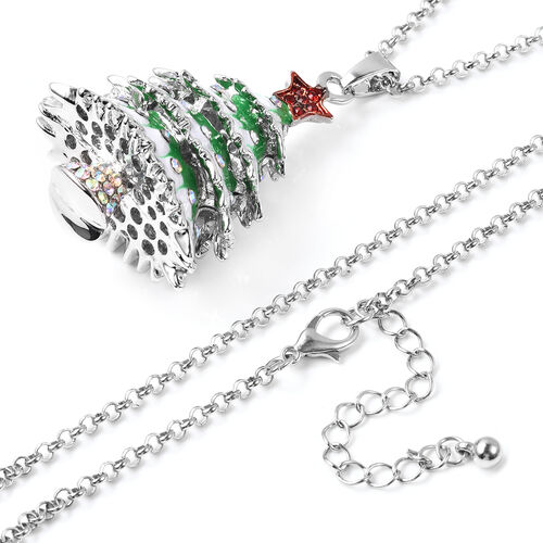 Red Austrain Crystal and Simulated Mystic White Crystal Enamelled Christmas Tree Pendant With Chain (Size 32)