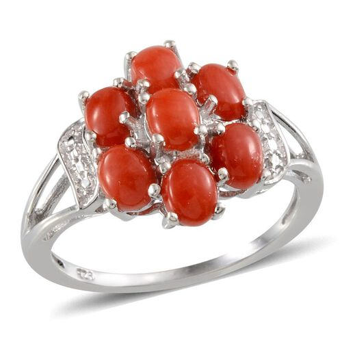Natural Mediterranean Coral (Ovl) Ring in Platinum Overlay Sterling Silver 2.500 Ct.