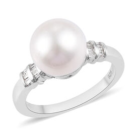 Edison Pearl and Diamond Ring in Platinum Overlay Sterling Silver
