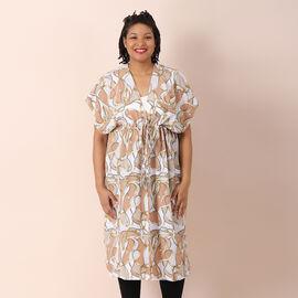 JOVIE Printed Kimono Chiffon Long Kaftan with Ruffles Sleeves (Size 80x93 Cm) - White and Multi