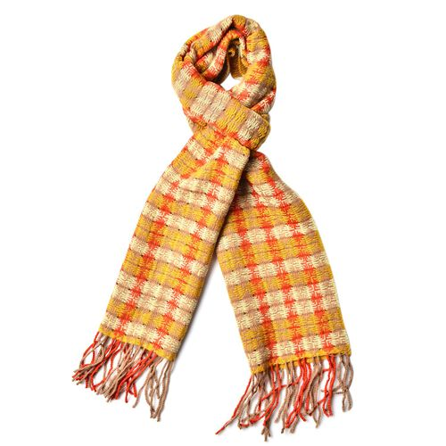 100% Wool Yellow, Red and Multi Colour Checks Pattern Scarf with Tassels (Size 170X25 Cm)