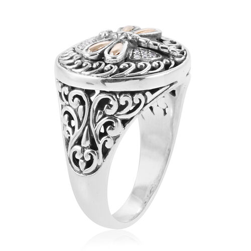 Royal Bali Collection Natural White Cambodian Zircon (Rnd) Dragonfly and Filigree Ring  in 18K Yellow Gold and Sterling Silver, Metal wt 7.30 Gms