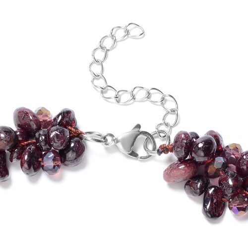 2 Piece Set - Mozambique Garnet and Magic Colour Beads Necklace (Size 18 with 1.5 inch Extender) and Hook Earrings in Stainless Steel 409.95 Ct.