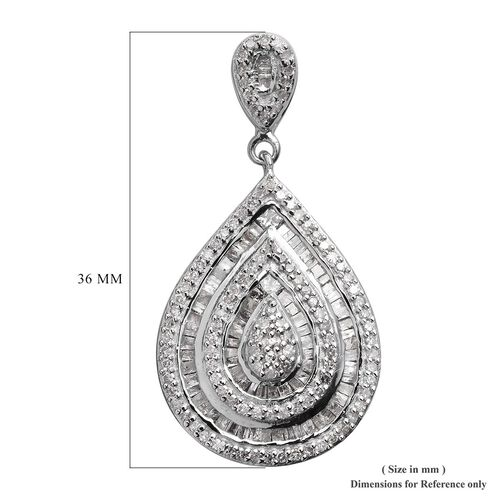 Diamond Cluster Drop Pendant in Platinum Overlay Sterling Silver 1.00 Ct.