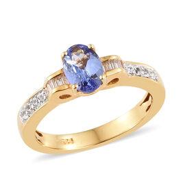 Designer Inspired- Tanzanite (Ovl), Natural White Cambodian Zircon Ring in 14K Gold Overlay Sterling