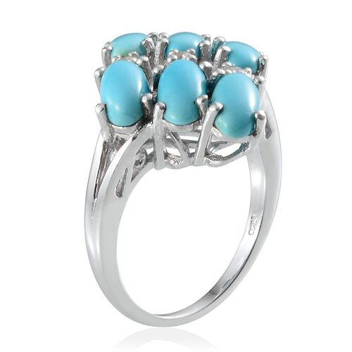 Arizona Sleeping Beauty Turquoise (Ovl), White Topaz Ring in Platinum Overlay Sterling Silver 4.150 Ct.