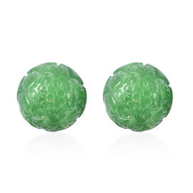 Carved Green Jade Stud Earrings (with Push Back) in Rhodium Overlay Sterling Silver 42.00 Ct.