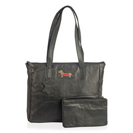 Set of Two Super Soft 100% Genuine Leather Sausage Dog Logo BlackTote bag with Matching RFID Purse (32x26x12cm)
