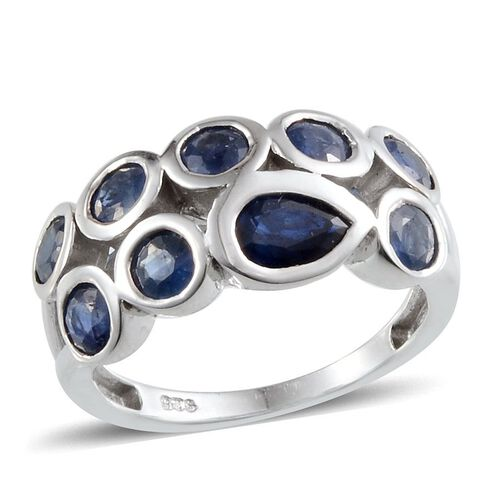 Diffused Blue Sapphire (Pear 0.75 Ct), Kanchanaburi Blue Sapphire Ring in Platinum Overlay Sterling Silver 3.750 Ct.