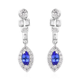 AAA Tanzanite and Natural Cambodian Zircon Earrings in Platinum Overlay Sterling Silver 2.00 Ct.