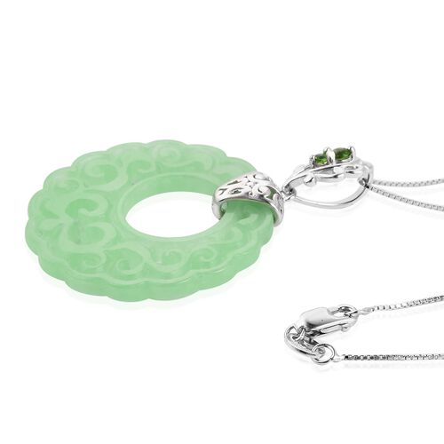Carved Green Jade and Russian Diopside Filigree Pendant with Chain (Size 18) in Rhodium Overlay Sterling Silver 25.630 Ct.
