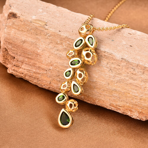 RACHEL GALLEY Misto Collection - Russian Diopside Pendant with Chain (Size 20)  in Yellow Gold Overlay Sterling Silver